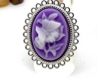 Ring silver plated cameo white flower and butterfly on purple background with charms and co.