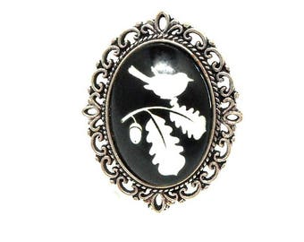 Adjustable silver ring, White Bird on black branches