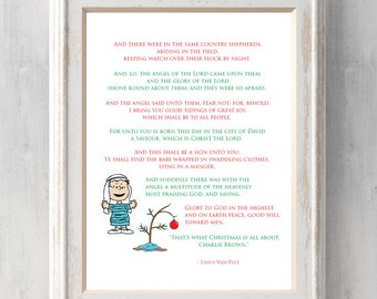 Charlie Brown Linus Christmas Print.  That's what Christmas is all about. Linus Speech.  All Prints BUY 2 GET 1 FREE!