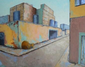 At the corner - painting original acrylic painting urban - knife - painting 60 x 60