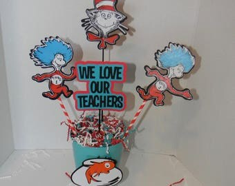 Cat in the Hat, Thing 1, Thing 2  Centerpieces. Dr. seuss Party