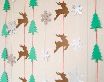 SALE 3 Holiday Paper Garland, Christmas Reindeer Garland, Christmas Paper Garland, Christmas Decor, Holiday Mantle Decor, Snowflake Paper Ga
