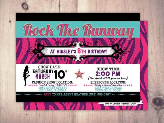 Rock the runway limo sleepover birthday party invitation popstar il570xn stopboris Image collections