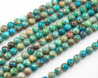 AFRICAN Sea Sediment Jasper smooth round sizes 4mm, 6mm, 8mm, 10mm, 12mm- Full 15.5 Inch Strand- Wholesale Pricing