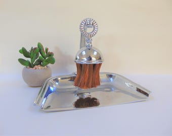 Chrome Crumb Tray and Brush Set Vintage Silent Butler Bristle and Metalware Table Serving Collectables