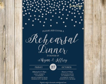 Navy Blue Silver Glitters WEDDING REHEARSAL DINNER Invitation, Navy Confetti Rehearsal Dinner Invite, Practice Makes Perfect, The Last Night