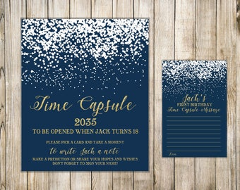 WINTER TIME CAPSULE Sign & Card, Navy First Birthday Time Capsule Message, Winter 1st Birthday Time Capsule, Gold Baby Shower Time Capsule