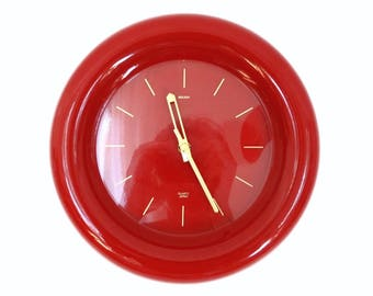 Larry Laslo for Mikasa 1980s Cranberry Red Wall Clock - Made in Japan
