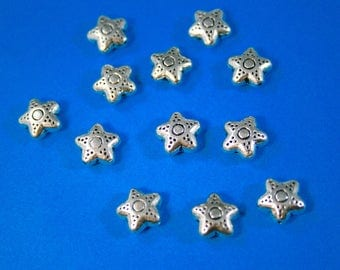 Pewter Star Beads 10 x 5 mm  12 Beads