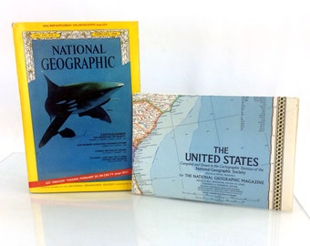 February 1968 National Geographic Magazine Single Issue & US Wall Map Supplement