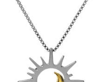 Sterling Silver Gold Vermeil Sun and Moon Necklace