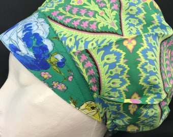 Green Paisley Blue Roses Surgical Cap Bouffant Scrub Hats for Women Tech OR Nurse St Patrick's Day Hat Amy Butler LoveNstitchies