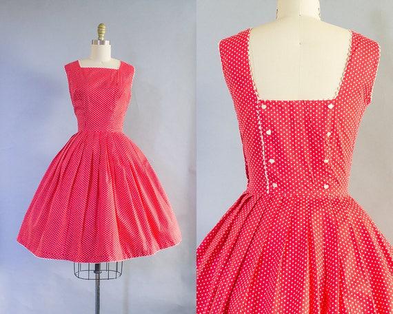 1950s Red Polka Dot Dress/ Medium (38B/28W)