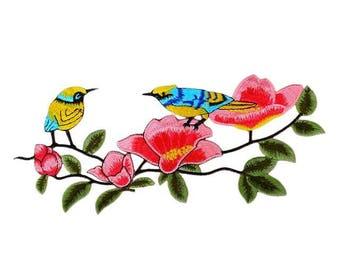 1 Blue Yellow BIRD on Branch Applique Sew On Animal Patch Sticker