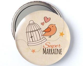 Miroir de poche cadeau 58 mm 'Super MARRAINE'
