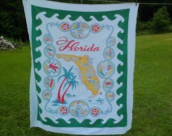 "Vintage Startex Florida State Souvenir Tablecloth 54 x 62"""