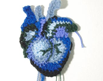 Blue crocheted heart - 10 cm