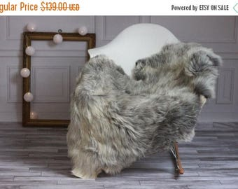 ON SALE Exclusive collection Genuine Gray GUTE Gotland Breed Sheepskin Rug, Pelt, Chair Cover, Throw Scandinavian Style #Gutesty8