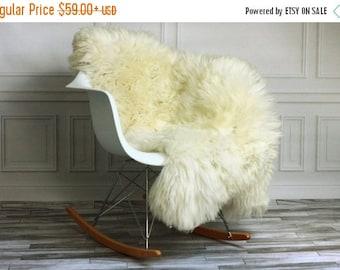 Real, Natural, Genuine Creamy White Sheepskin Rug Scandinavian Design