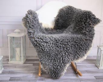 Genuine Rare Gotland Sheepskin Rug - Curly Fur Rug - Natural Sheepskin