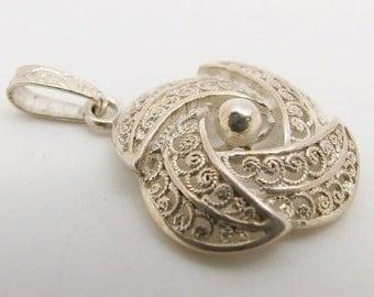 15% SALE - Vintage 925 Sterling Silver Filigree Swirl Flower Pendant