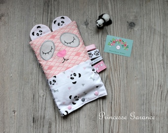 Doudou heating pad with organic flaxseed - model pandadou pink/gray - custom