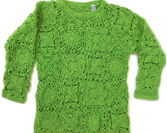 90s Grunge Lime Green Chunky Crochet Open Knit Sweater Top