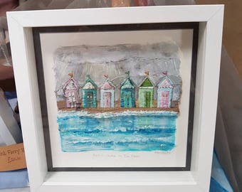 Beach Huts In The Rain,  acrylic painting incorporating driftwood.