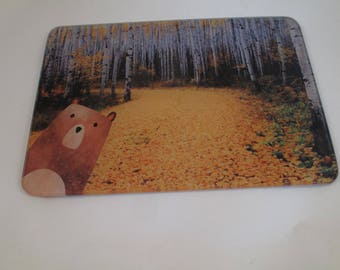 Cutting Board / Cheese Board, Bear Graphic Art with  Fall Aspen photography background.