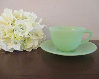 Fire King Jadeite Jane Ray cup and Saucer