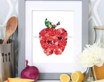 APPLE a DAY #142, 8x10 art, Button Art, Button Artwork, Button Ideas, Unique Buttons, Vintage Buttons, Red art, Kitchen art, Fruit Art