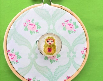 Handmade cross stitch ring matroeska