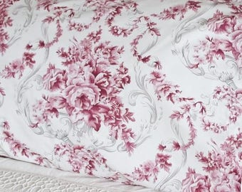 Pillowcase Berry Pink Floral Toile Bedroom Pillow Shams Cases In Pure Cotton Fabric 2514
