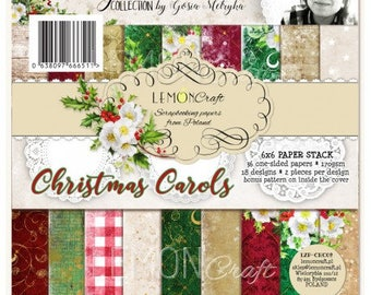 NEW Lemoncraft Christmas Carols 6x6 Designer Scrapbook Paper