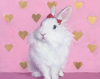 Custom Oil Bunny Rabbit portrait. Original oil painting from your photo. Pet portrait. Great gift