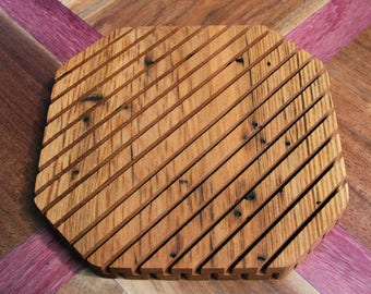 "American Chestnut ~8"" Wood Trivet, Multiple Species Available, Hot Plate, Wooden Trivet, Home Decor, Table Decor, Decoration, Wood, Handmade"