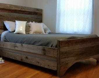 Custom Barnwood Bedframe, custom bedframe, reclaimed wood, barnwood, bed, rustic bedframe, rustic wood, wood bedframe, rustic wood bedframe