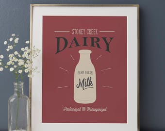 Dairy Print, Farmhouse Sign, Farmhouse Kitchen, Rustic Kitchen, Kitchen Art Print, Farm Fresh Dairy