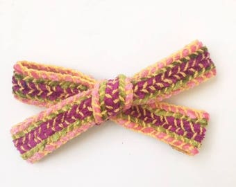 Knitted wool bow/headbow/colorful bow/pink bow/toddler bow/newborn bow/headbad bow