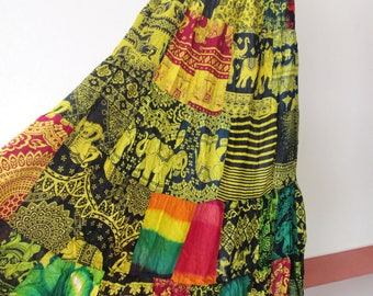 SALE 20% off and Free Gift !!! ** Yellow Green Multi Patchwork Skirt Maxi Boho Hippie Gypsy Bohemian Summer Travel Skirt - No.2