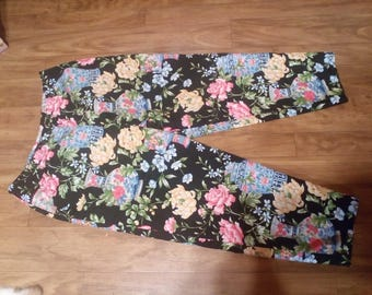Talbot Lined Slacks..Side Zipper..Flowers...Sz 18