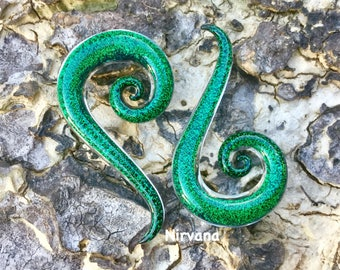 """1 Pair - Emerald Green Dichroic Thai Super Spirals 10g 8g 6g 4g 2g 0g 00g 7/16"""" 1/2"""" 9/16"""" 5/8""""  3 mm 4 mm 5 mm 6 mm 8 mm  - 16 mm"""