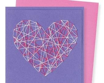 STRING HEART / white & pink heart on purple