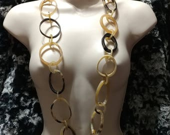 SALE Massive 40'' Haute Couture Runway Polished Horn,Irregular Round Links Necklace