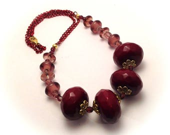 Necklace, Burgundy, pink red purple, red copper chain.