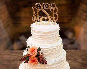 Elegant Monogram Wedding Cake Topper, Monogram Cake Topper, Initials Wedding Cake Topper, Gold Monogram Cake Topper