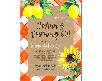 Country Gingham 5x7 Invitation - Sunflower and Lemons - Birthday Party - Printable and Personalized