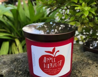 Apple Harvest Pure Soy Candle Handmade 9oz, Hand Poured-Fall Candle-Autumn Candle-Vegan, Kosher Certified Soy