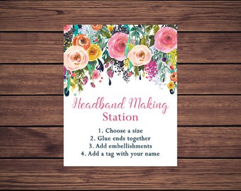 Headband Making Sign, Headband Sign, Headband Making Station Sign, Pink and Navy Floral Baby Shower Digital Instant Download PDF Printable