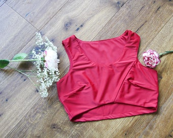 MATH N88 Woman Cherry Red Bustier, Crop top, Bustier Top, Party Top.